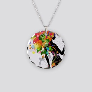 Psychedelic woman Necklace Circle Charm