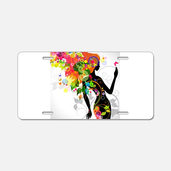 Psychedelic woman Aluminum License Plate