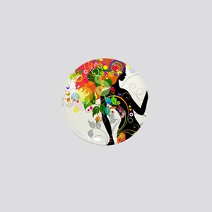 Psychedelic woman Mini Button