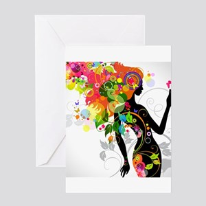 Psychedelic woman Greeting Cards