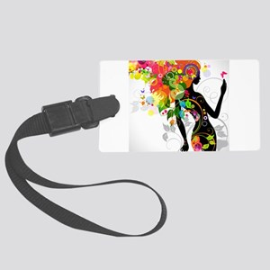 Psychedelic woman Large Luggage Tag