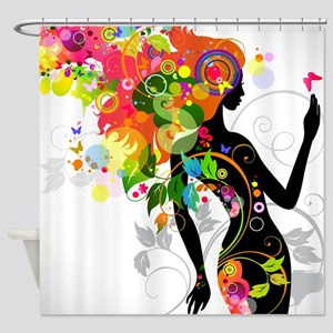 Psychedelic woman Shower Curtain