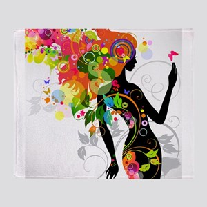 Psychedelic woman Throw Blanket