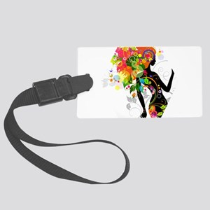 Psychedelic figure hexagon Large Luggage Tag