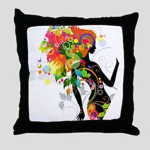 Psychedelic figure hexagon Throw Pillow