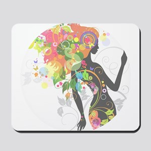 Psychedelic figure circle faded Mousepad
