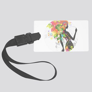 Psychedelic figure circle faded Large Luggage Tag