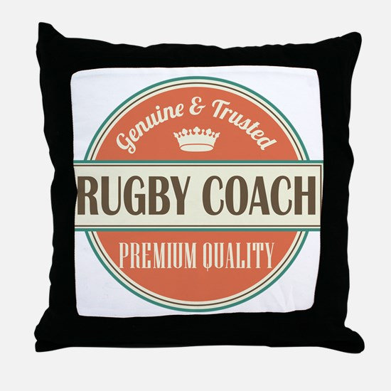 rugby coach vintage logo Throw Pillow