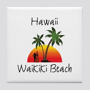 Waikiki Beach Hawaii Tile Coaster