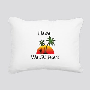 Waikiki Beach Hawaii Rectangular Canvas Pillow