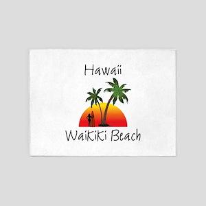 Waikiki Beach Hawaii 5'x7'Area Rug