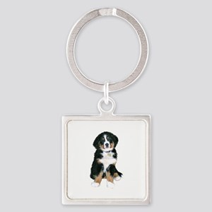 Bernese MD Puppy Square Keychain