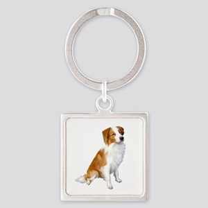 Border Collie (r&w) Square Keychain