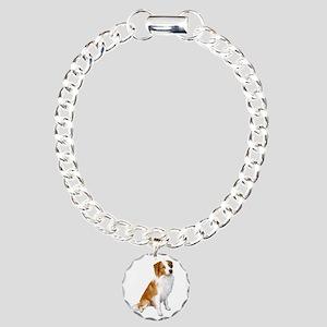 Border Collie (r&w) Charm Bracelet, One Charm