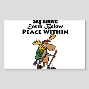 Funny Moose Hiker Cartoon Sticker