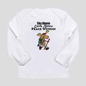 Funny Moose Hiker Cartoon Long Sleeve T-Shirt