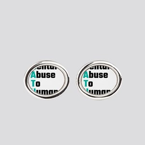 MATH Mental Abuse To Humans Oval Cufflinks