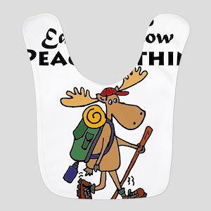 Funny Moose Hiker Cartoon Polyester Baby Bib