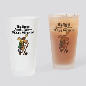 Funny Moose Hiker Cartoon Drinking Glass