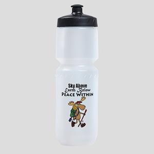 Funny Moose Hiker Cartoon Sports Bottle