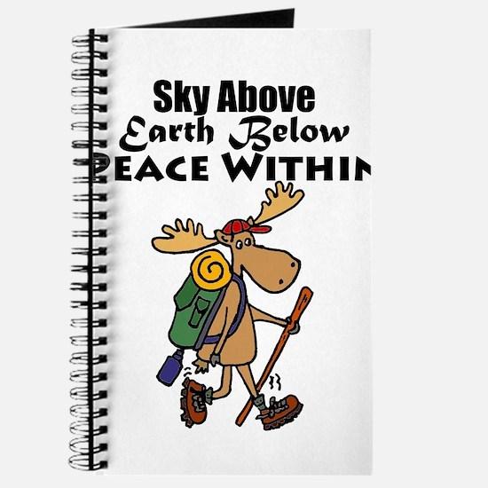 Funny Moose Hiker Cartoon Journal