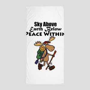 Funny Moose Hiker Cartoon Beach Towel