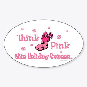 PINK Christmas Stocking 6 Oval Sticker