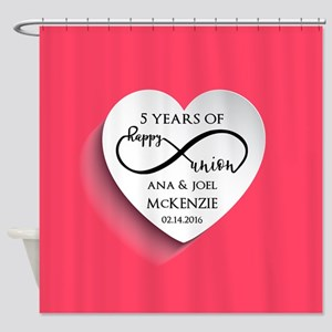 Personalized Anniversary Pink Infin Shower Curtain