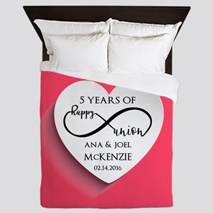 Personalized Anniversary Pink Infinity Queen Duvet