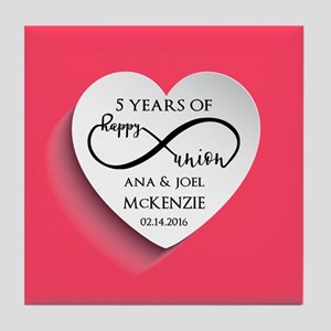 Personalized Anniversary Pink Infinit Tile Coaster