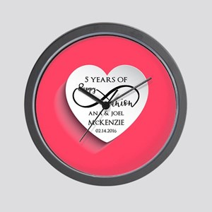 Personalized Anniversary Pink Infinity Wall Clock