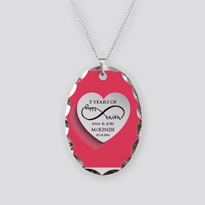 Personalized Anniversary Pink Necklace Oval Charm