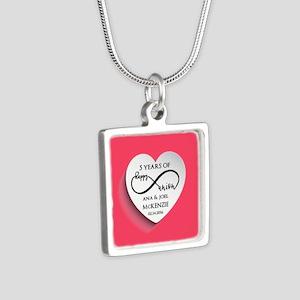 Personalized Anniversary P Silver Square Necklace