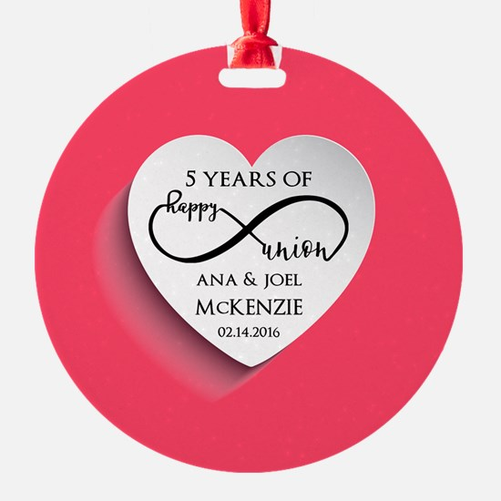 Personalized Anniversary Pink Infin Ornament