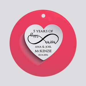 Personalized Anniversary Pink Infin Round Ornament