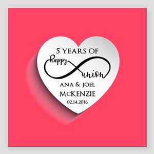 """Personalized Anniversary Square Car Magnet 3"""" x 3"""""""