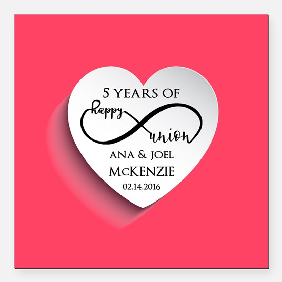 "Personalized Anniversary Square Car Magnet 3"" x 3"""