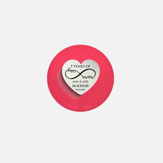 Personalized Anniversary Pink Infinity Mini Button