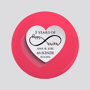 Personalized Anniversary Pink Infinity Button