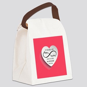 Personalized Anniversary Pink Inf Canvas Lunch Bag