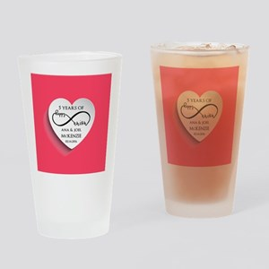Personalized Anniversary Pink Infin Drinking Glass