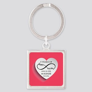 Personalized Anniversary Pink Infi Square Keychain