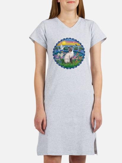 Lilies(JF)/Siamese Cat 24 ( Women's Dark T-Shirt