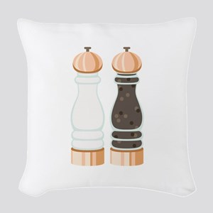 Salt & Pepper Grinders Woven Throw Pillow