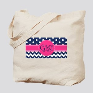 Gigi - Pink and Blue - Chevron & Polka Do Tote Bag