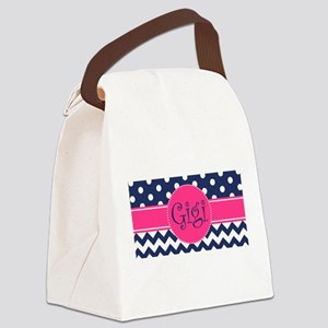 Gigi - Pink and Blue - Chevron & Canvas Lunch Bag