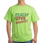 Peace Love and Happiness Green T-Shirt