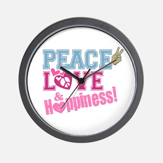 Peace Love and Happiness Wall Clock