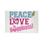 Peace Love and Happiness Rectangle Magnet (10 pack