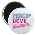 """Peace Love and Happiness 2.25"""" Magnet (100 pack)"""